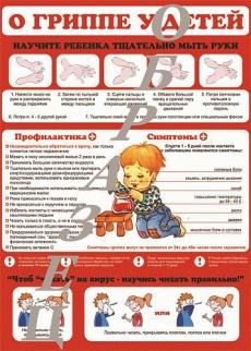 """Виниловая таблица """"О гриппе у детей"""" 100х140 см"""