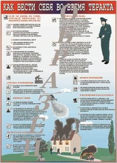 """Виниловая таблица """"Как вести себя во время террористического акта"""" 100х140 см"""