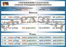 """Виниловая таблица """"Немецкий язык. Спряжение глаголов. Сложное прошедшее время"""" формат 100х140 см"""
